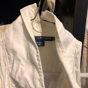 White sleeveless linen shirt size 10